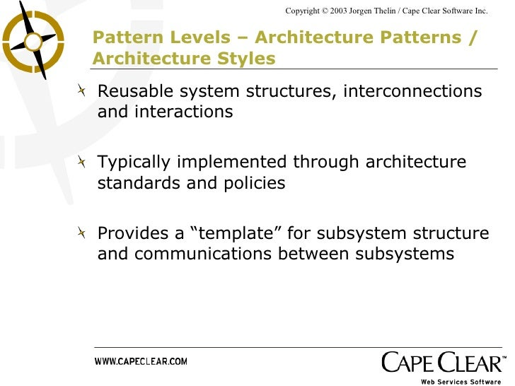 Pattern Architecture Software Pattern Levels – Architecture