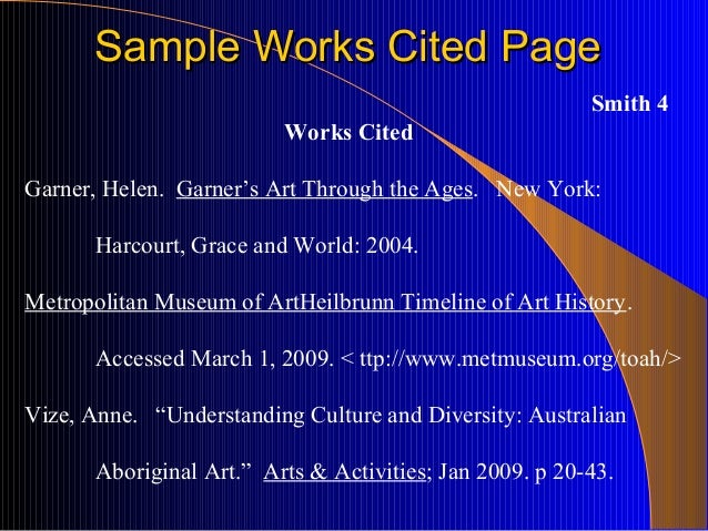 Help me with my worrks cited page for term paper?