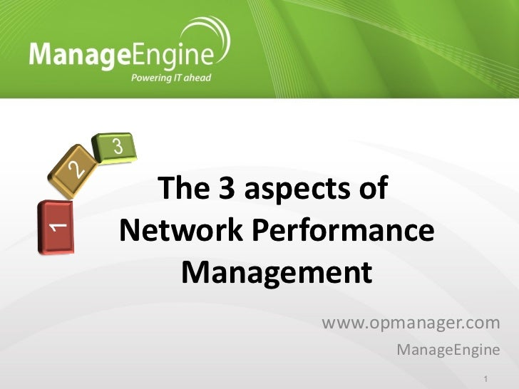www.opmanager.com ManageEngine The 3 aspects of  Network Performance Management