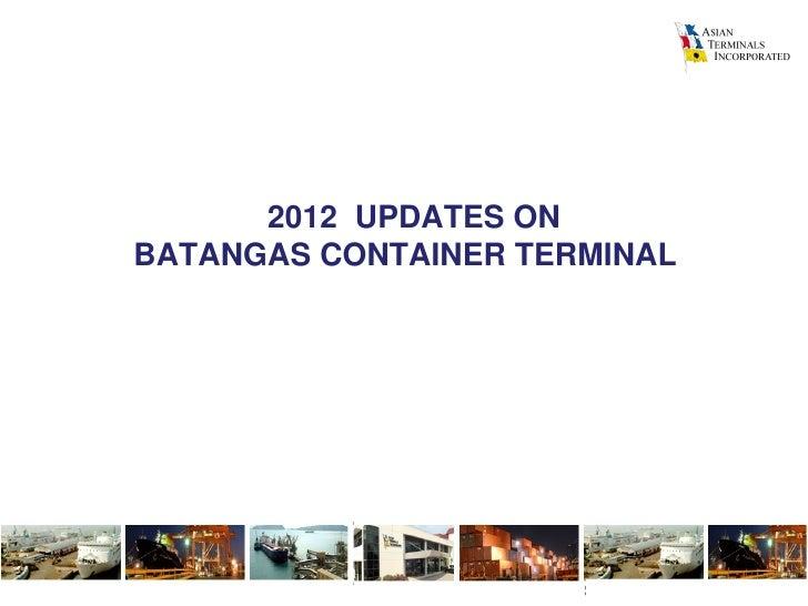 ATI presentation: key advantages of Batangas Cargo Terminal