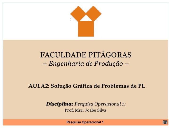FACULDADE PITÁGORAS<br />– Engenharia de Produção – <br />AULA2: Solução Gráfica de Problemas de PL<br />Disciplina: Pesqu...