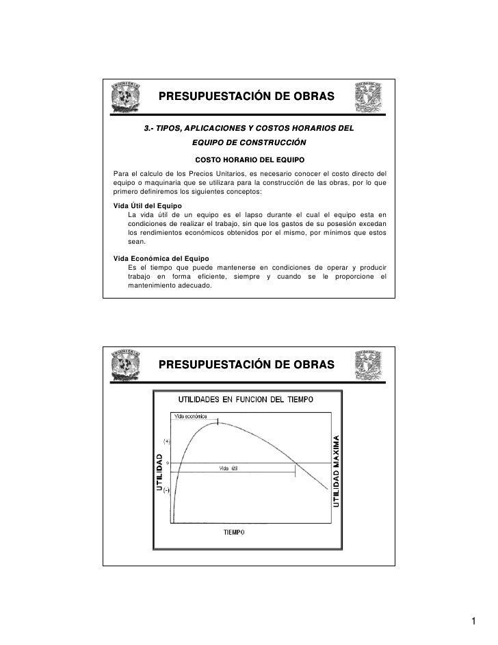 PRESUPUESTACIÓN DE OBRAS           3.-          3.- TIPOS, APLICACIONES Y COSTOS HORARIOS DEL                        EQUIP...
