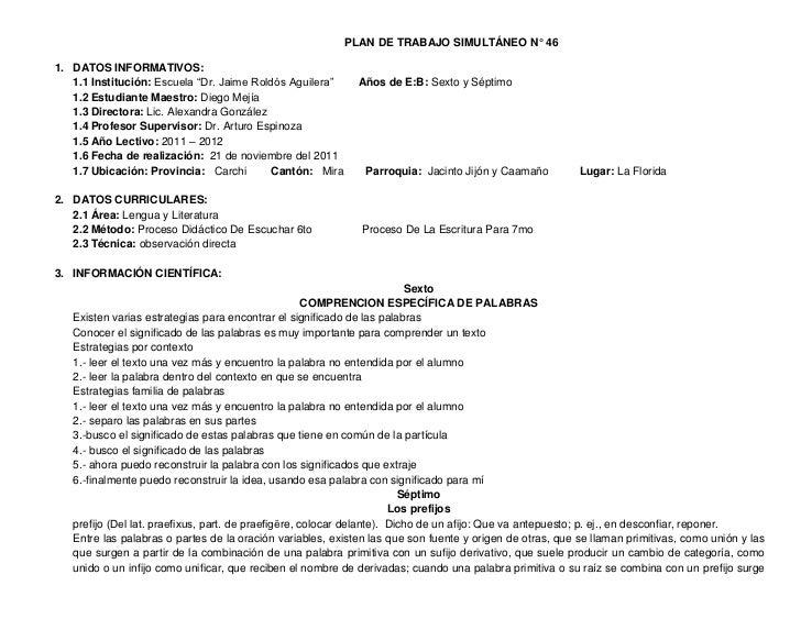 """PLAN DE TRABAJO SIMULTÁNEO N° 461. DATOS INFORMATIVOS:   1.1 Institución: Escuela """"Dr. Jaime Roldós Aguilera""""      Años de..."""