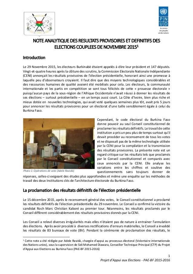 1 Projet d'Appui aux Elections - PAE-BF 2015-2016 NOTEANALYTIQUEDESRESULTATSPROVISOIRES ETDEFINITIFS DES ELECTIONSCOUPLEES...