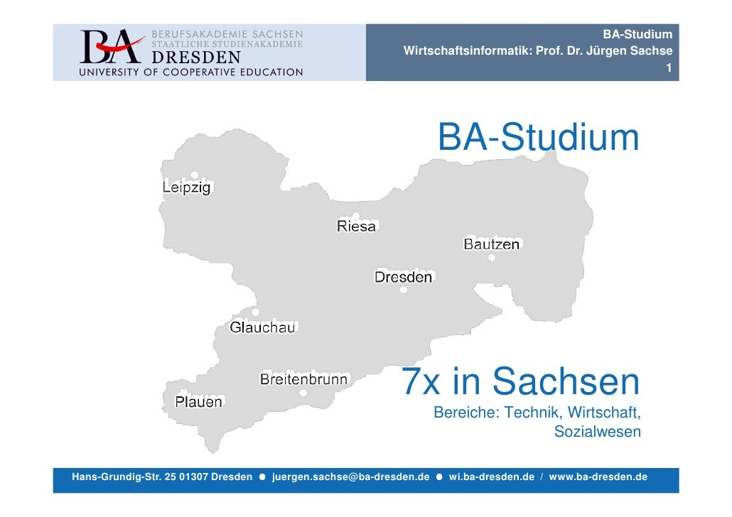 BA-Studium                                                            Wirtschaftsinformatik: Prof. Dr. Jürgen Sachse      ...