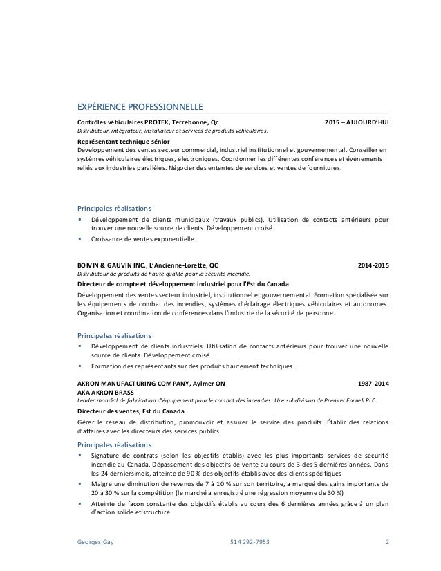 exemple cv gouvernement federal