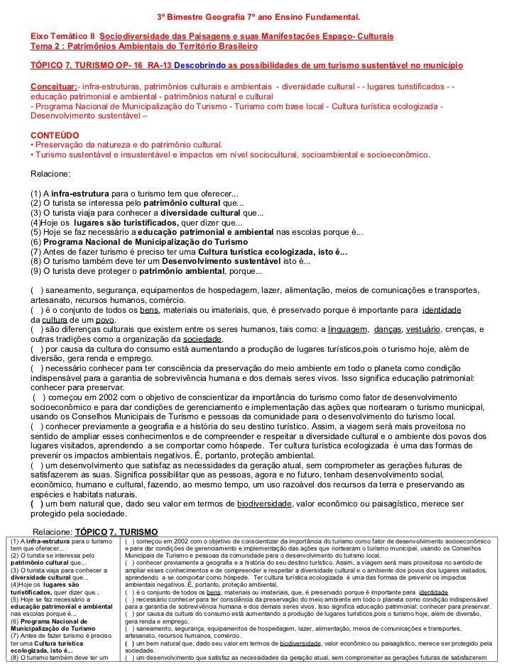 3º Bimestre Geografia 7º ano Ensino Fundamental.      Eixo Temático II Sociodiversidade das Paisagens e suas Manifestações...