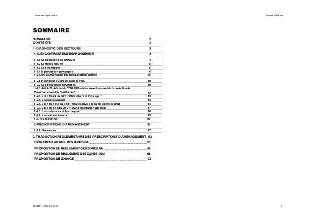 Commune d'Ergué Gabéric  Dossier loi Barnier  SOMMAIRE SOMMAIRE CONTEXTE  1 2  1- DIAGNOSTIC DES SECTEURS  3  1-1 LES CONT...