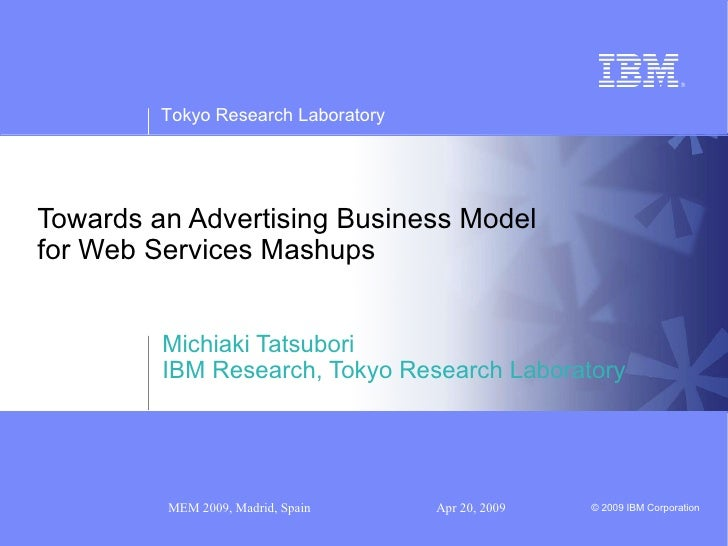 Towards an Advertising Business Model for Web Services Mashups