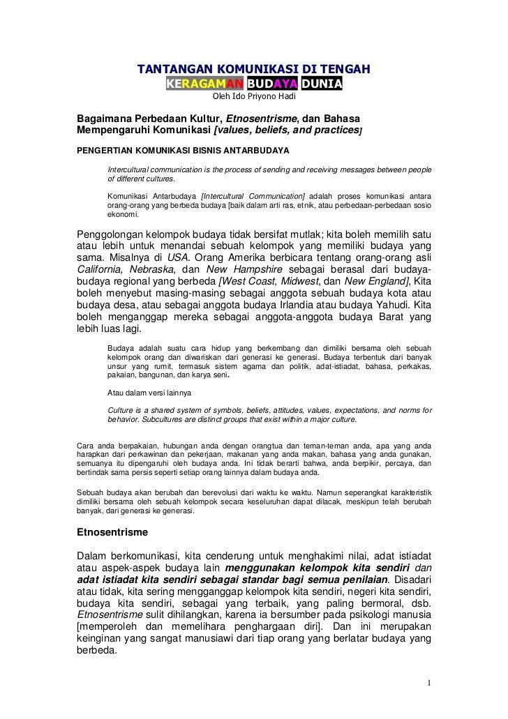 TANTANGAN KOMUNIKASI DI TENGAH                    KERAGAMAN BUDAYA DUNIA                                      Oleh Ido Pri...