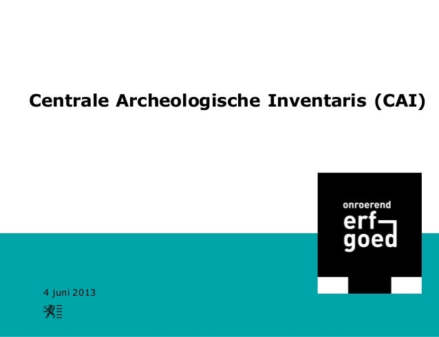 De Centrale Archeologische Inventaris (CAI): de theorie