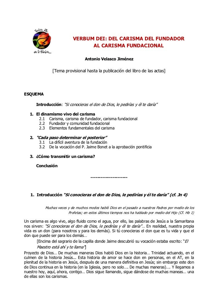 VERBUM DEI: DEL CARISMA DEL FUNDADOR                                   AL CARISMA FUNDACIONAL                             ...
