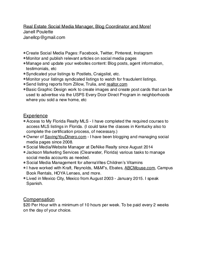 Real Estate Manager Resume 22.06.2017