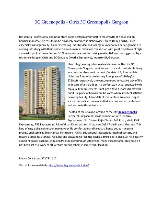 3c greenopolis ~3c new project proposed simply by 3C Group at sector 89 gurgaon