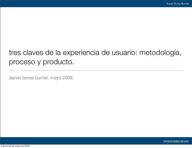 Tres claves de la experiencia de usuario: metodología, proceso y producto
