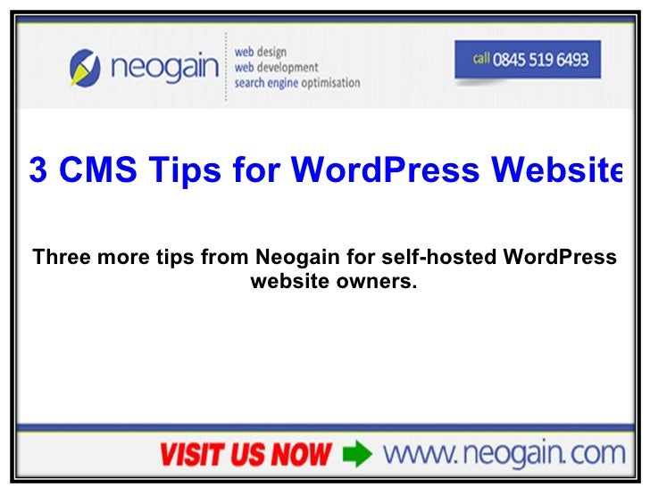 <ul><li>3 CMS Tips for WordPress Website Owners </li></ul><ul><li>Three more tips from Neogain for self-hosted WordPress w...