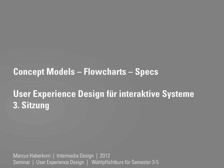 Concept Models – Flowcharts – SpecsUser Experience Design für interaktive Systeme3. SitzungMarcus Haberkorn   Intermedia D...