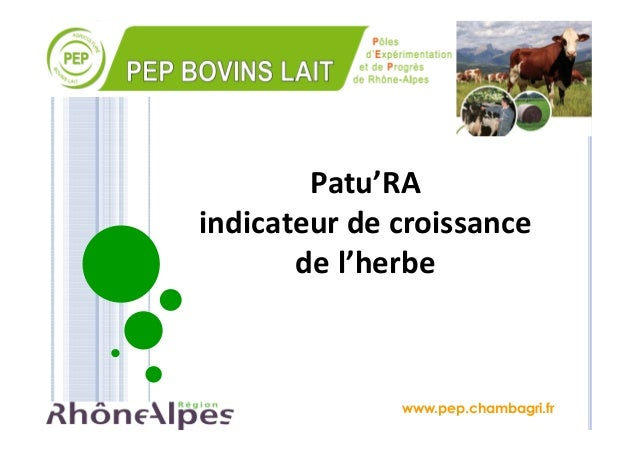 www.pep.chambagri.fr Patu'RA indicateur de croissance de l'herbe