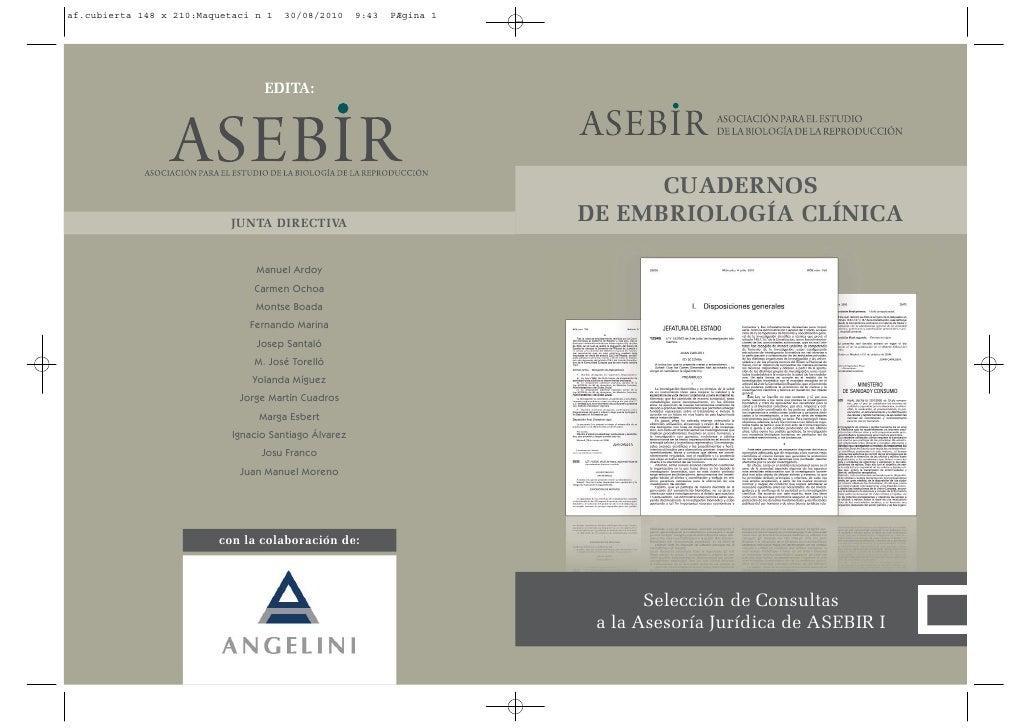 CUADERNOS DE EMBRIOLOGÍA CLÍNICA            Selección de Consultas  a la Asesoría Jurídica de ASEBIR I