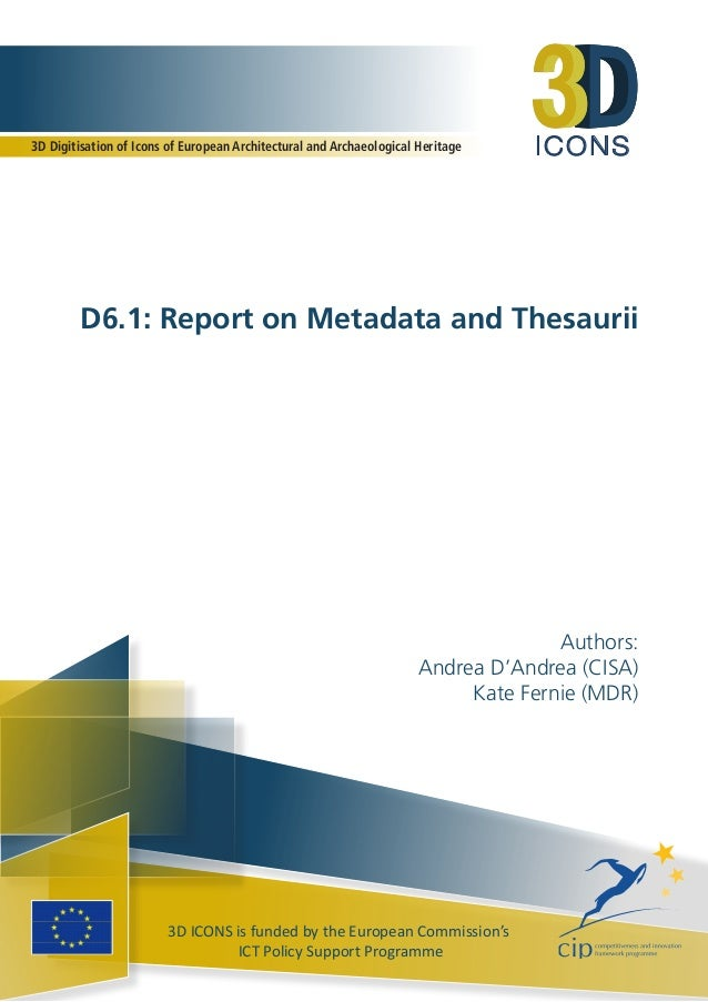 3dicons d61 report on metadata and thesaurii