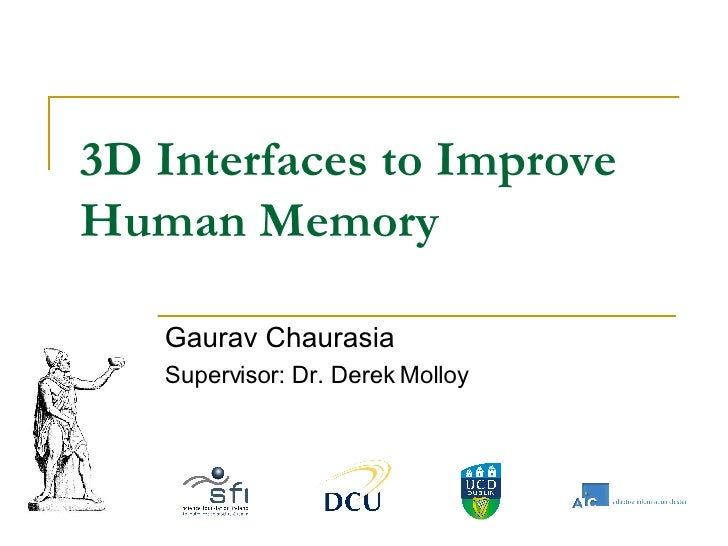 3D Interfaces to Improve Human Memory Gaurav Chaurasia Supervisor: Dr. Derek Molloy