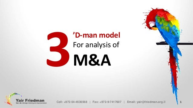 3  'D-man model For analysis of  M&A  Cell: +972-54-4536568 | Fax: +972-9-7417607 | Email: yair@friedman.org.il  1