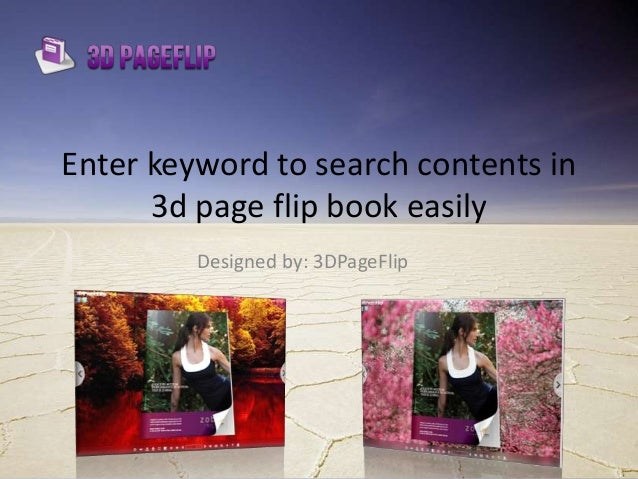 enter keyword to search contents in 3d page flip book easily