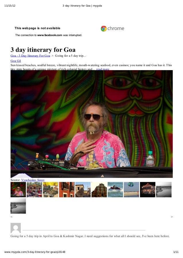 11/15/12                                           3 day itinerary for Goa | mygola    HomeAskusExploreHowitworks   ...