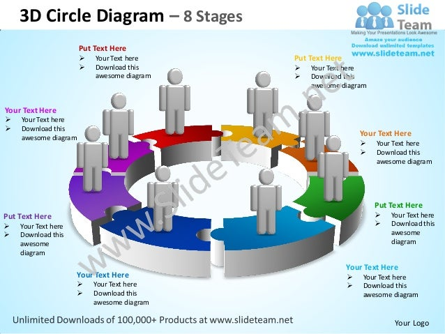 3d Circle Diagram 8 Stages Powerpoint Templates 0712