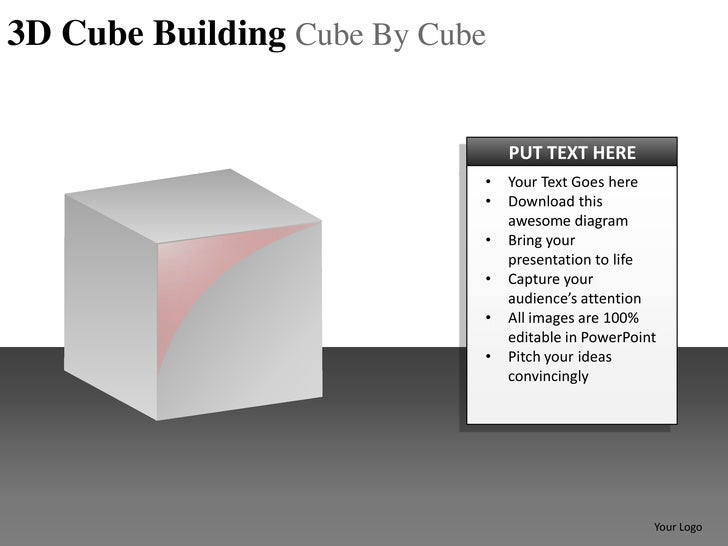 3D Cube Building Cube By Cube                                PUT TEXT HERE                            •   Your Text Goes h...
