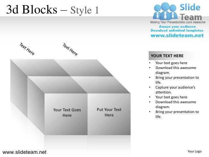 3d cubes building blocks stacked building blocks logical design 1 powerpoint presentation slides.