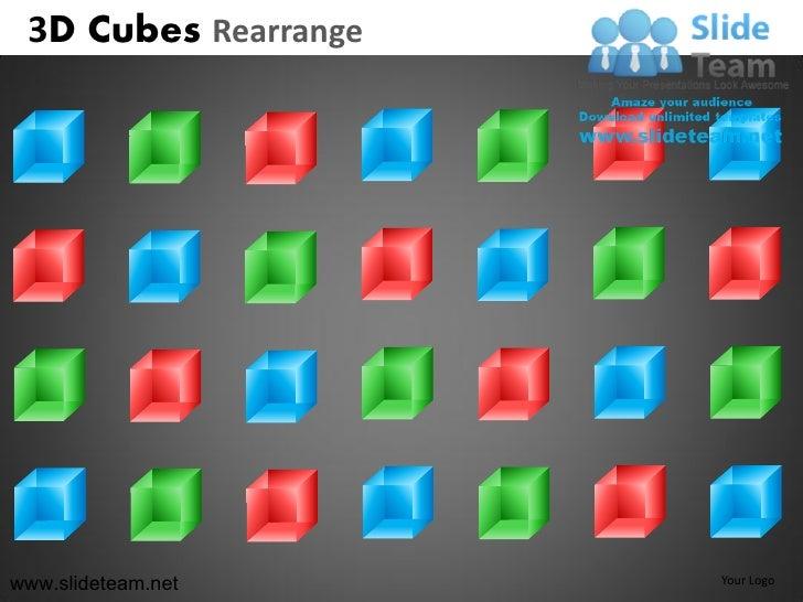 3d cubes building blocks stacked rearrange powerpoint presentation slides.