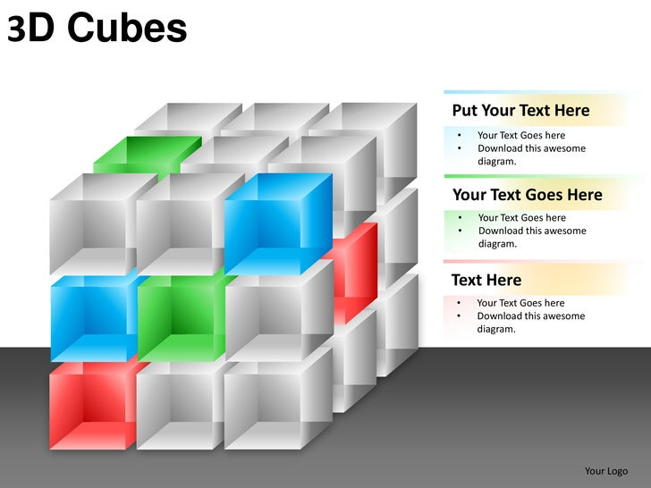 3D Cubes           Put Your Text Here           •   Your Text Goes here           •   Download this awesome               ...