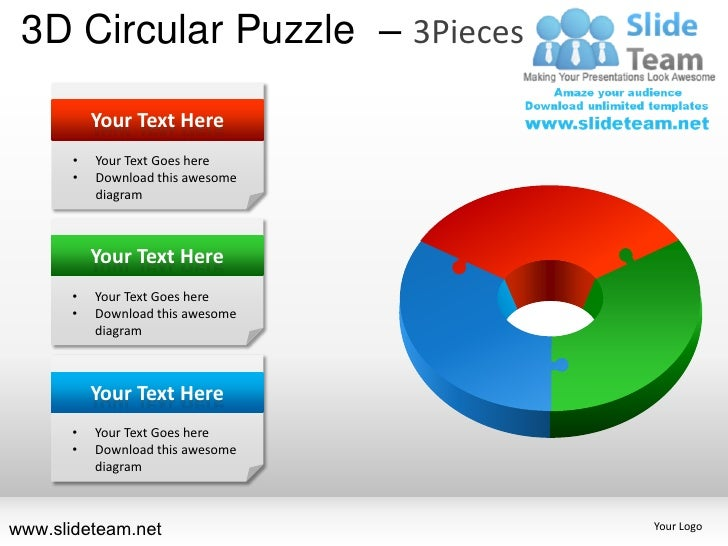 3D Circular Puzzle – 3Pieces           Your Text Here       •   Your Text Goes here       •   Download this awesome       ...