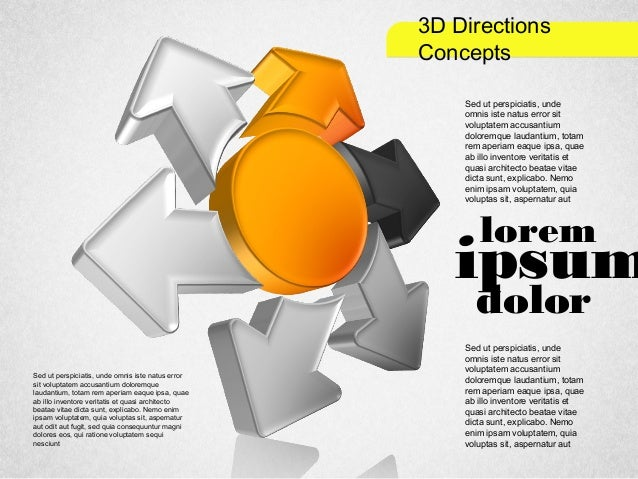 3D Directions Shapes for PowerPoint by PoweredTemplate.com