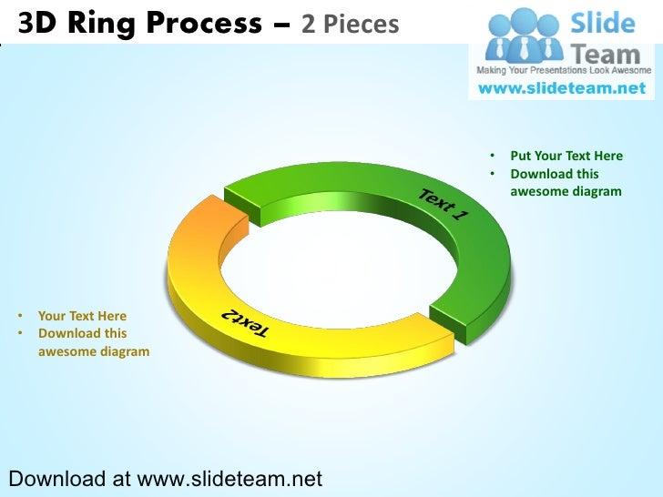 3 d display pie chart  process 2 pieces powerpoint diagrams and powerpoint templates