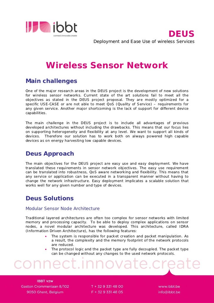 DEUS                                      Deployment and Ease Use of wireless Services                Wireless Sensor Netw...