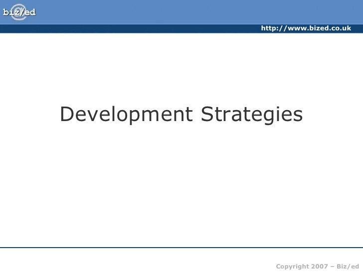 Unit 4: Development Strategies