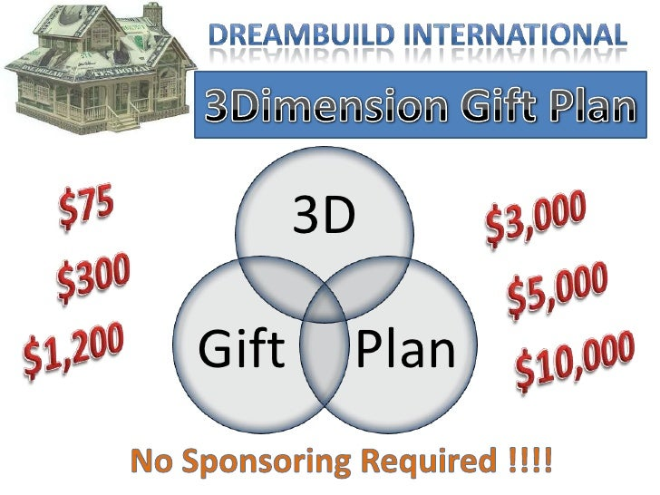 DreamBuild International<br />3Dimension Gift Plan<br />$75<br />$3,000<br />$300<br />$5,000<br />$1,200<br />$10,000<br ...