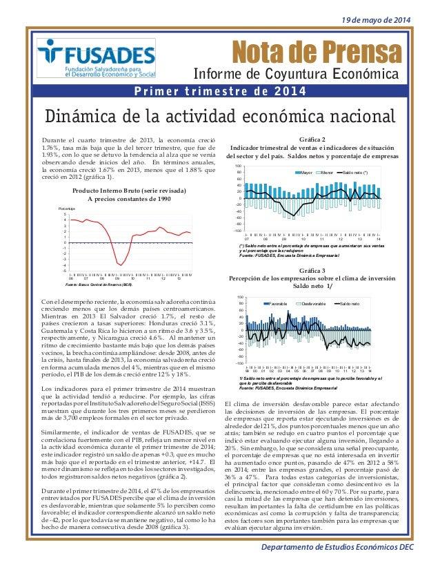 Nota de prensa Dinámica de la actividad económica nacional Informe de Coyuntura Económica I trimestre de 2014