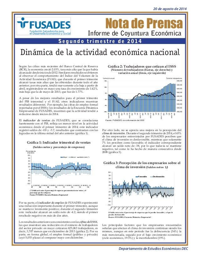 Dinámica de la actividad económica nacional  Informe de Coyuntura Economía II trimestre de 2014