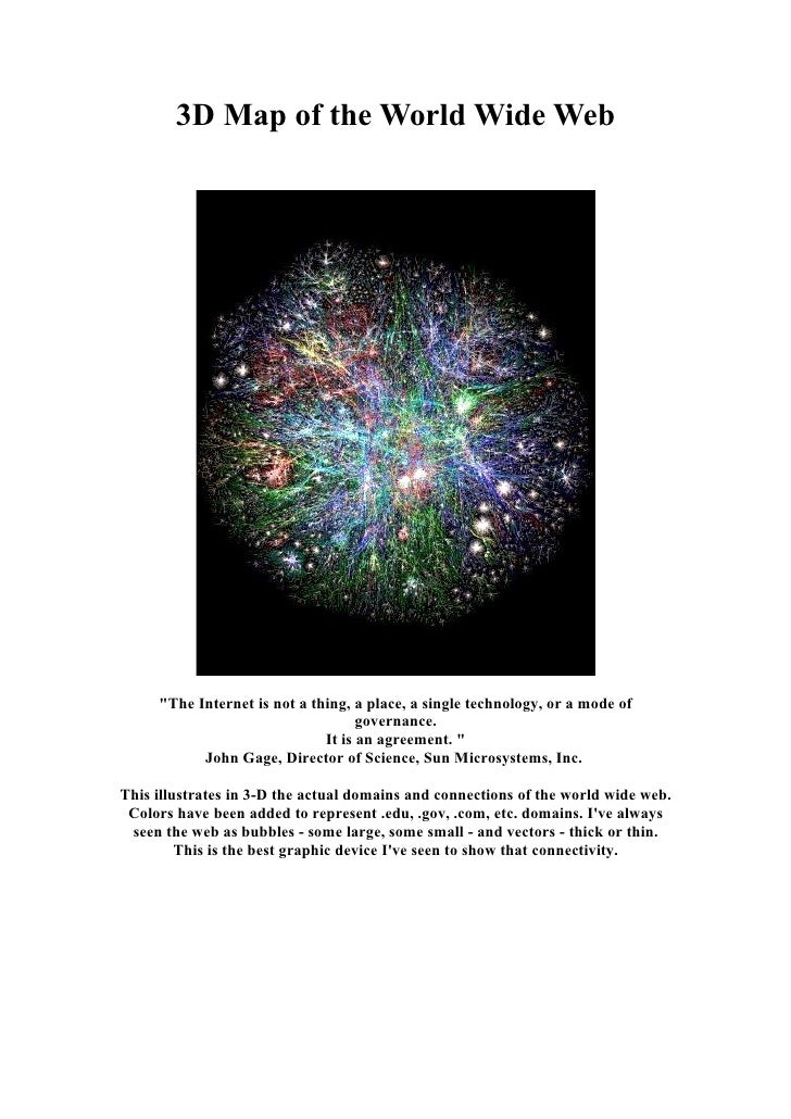 """3D Map of the World Wide Web          """"The Internet is not a thing, a place, a single technology, or a mode of            ..."""