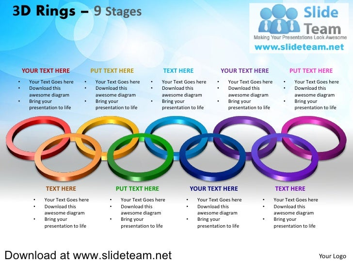 3 d pieces of rings circles connected interconnected  linked 9 stages powerpoint presentation slides and ppt templates
