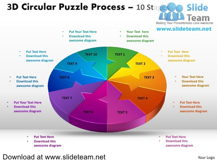 3 d pie chart circular puzzle with hole in center process 10 stages style 2 powerpoint presentation slides and ppt templates