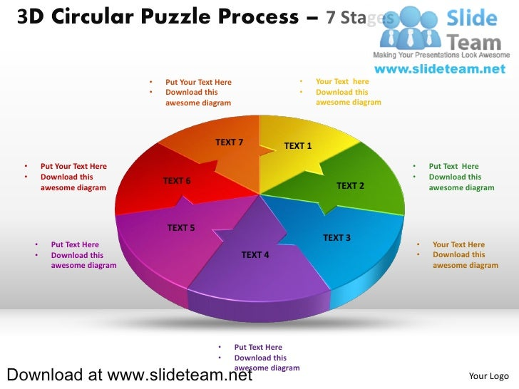 3 d pie chart circular puzzle with hole in center process 7 stages style 2 powerpoint diagrams and powerpoint templates