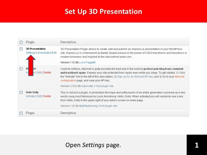 Set Up 3D PresentationOpen Settings page.      1