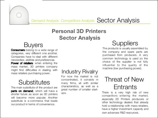 market analysis for 3d printer An industry like 3d printing generates a great deal of analysis, and there's no  shortage of market reports with plenty of details on how the industry and its  various.