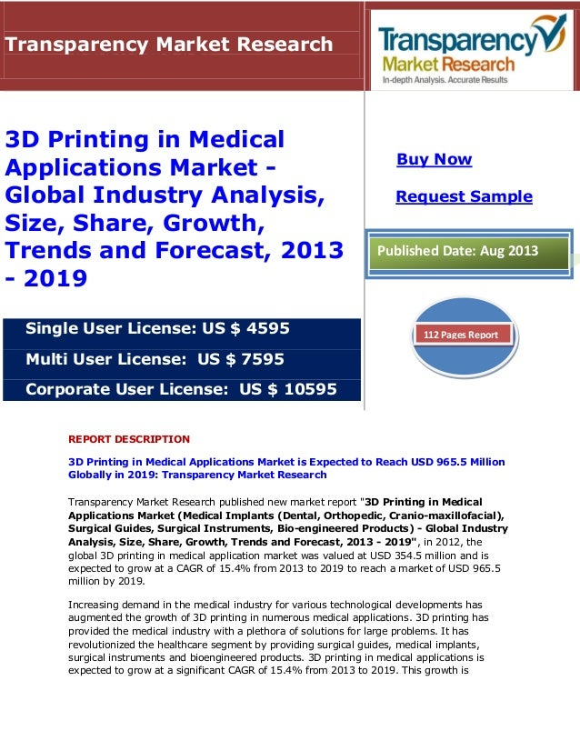 REPORT DESCRIPTION 3D Printing in Medical Applications Market is Expected to Reach USD 965.5 Million Globally in 2019: Tra...