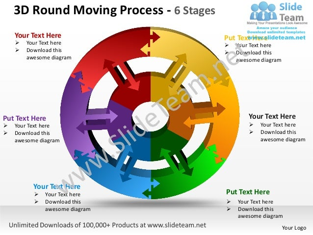 3D Round Moving Process - 6 Stages    Your Text Here                       Put Text Here       Your Text here            ...