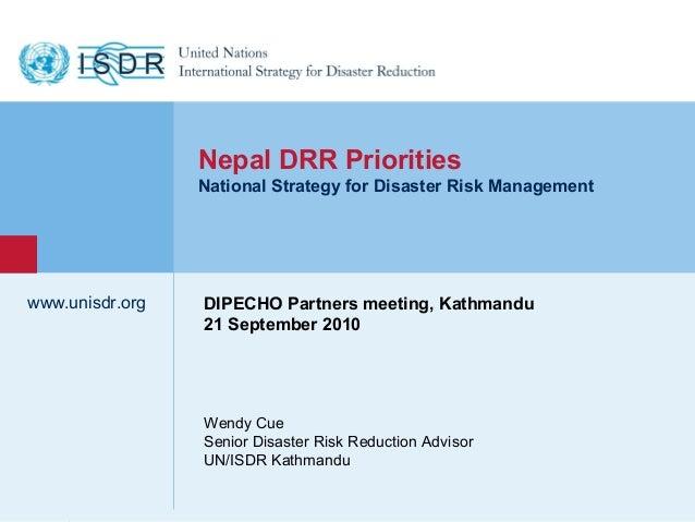 3 drr priorities nepal dipecho presentation (unisdr)
